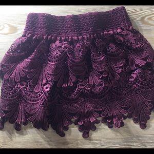 Maroon lace mini skirt